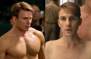 En la película del Capitán América (2011) su protagonista aumenta de masa muscular tras entrar en una máquina de un modo rápido y sin esfuerzo.