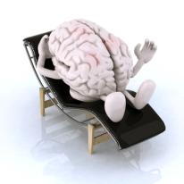 Cerebro acostado en una tumbona