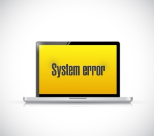 system error message on a computer. illustration