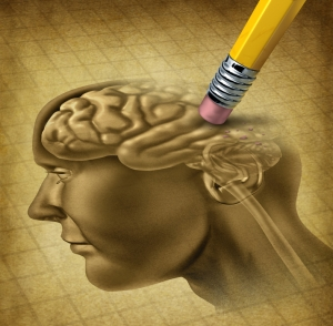 Dementia disease and a loss of brain function and losing memories as alzheimers as a medical health care symbol of neurology and mental problems with a pencil eraser removing the head anatomy on a grunge old parchment paper.