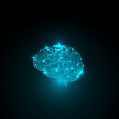 Abstract human brain. Triangle brain glow lights. Abstract concept of human brain activity.